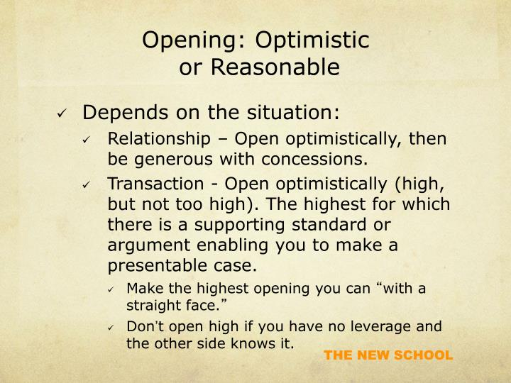 Opening: Optimistic
