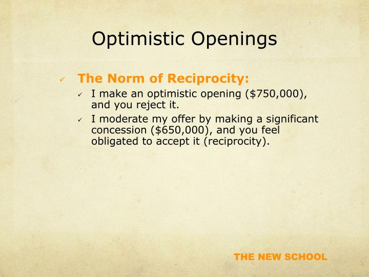 Optimistic Openings
