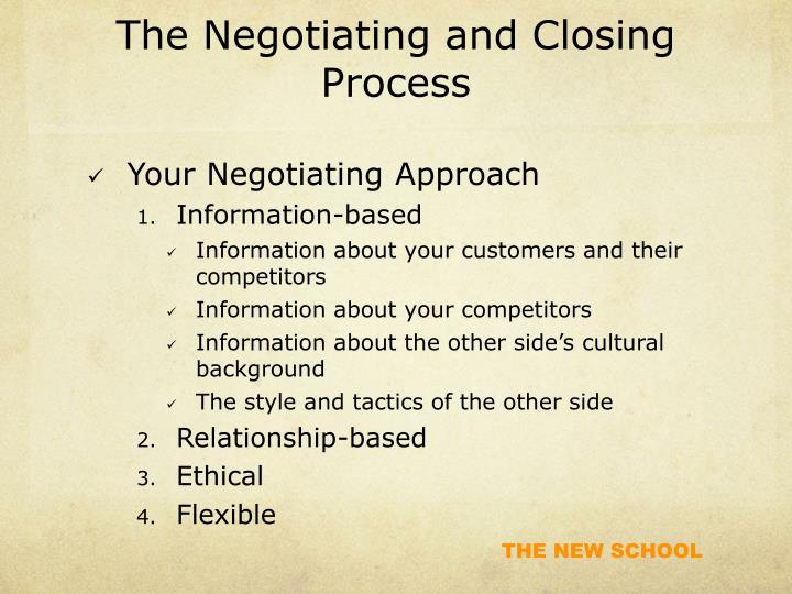 The Negotiating and Closing Process