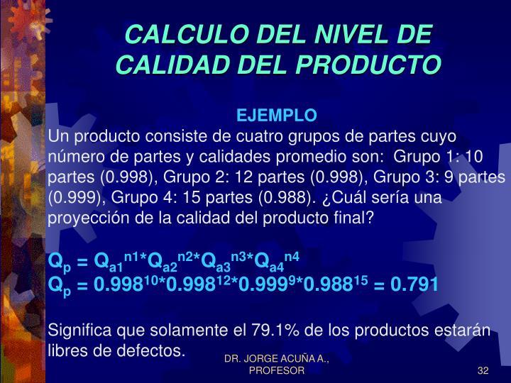 CALCULO DEL NIVEL DE CALIDAD DEL PRODUCTO