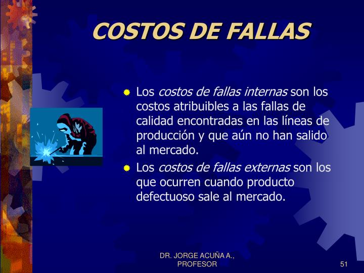 COSTOS DE FALLAS
