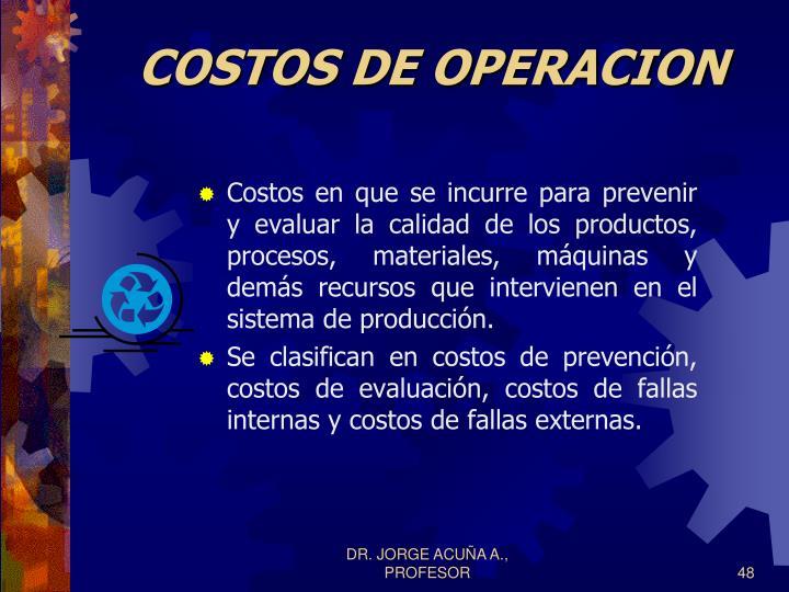 COSTOS DE OPERACION