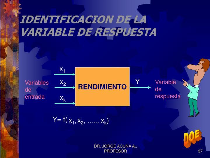 IDENTIFICACION DE LA VARIABLE DE RESPUESTA