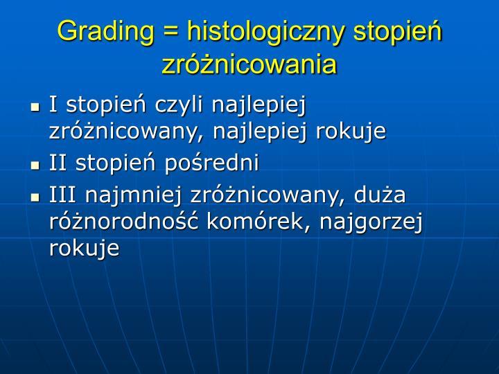 Grading = histologiczny stopie zrnicowania