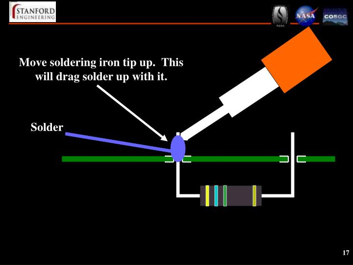 Move soldering iron tip up.  This