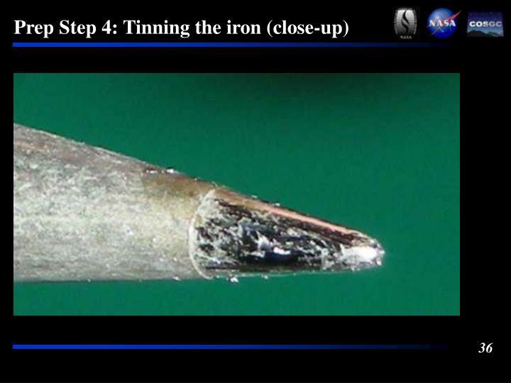 Prep Step 4: Tinning the iron (close-up)