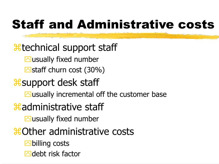 Staff and Administrative costs