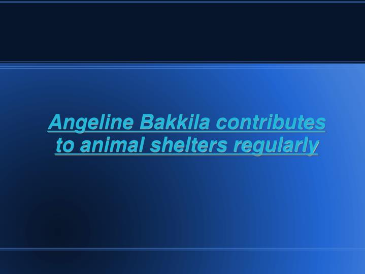 Angeline Bakkila contributes to animal shelters regularly