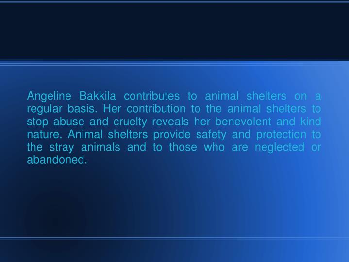 Angeline Bakkila contributes to animal shelters on a regular basis. Her contribution to the animal s...
