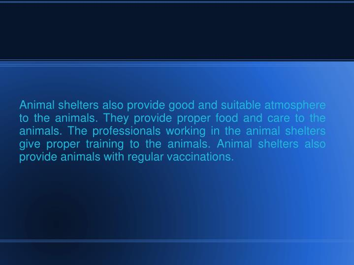 Animal shelters also provide good and suitable atmosphere to the animals. They provide proper food a...
