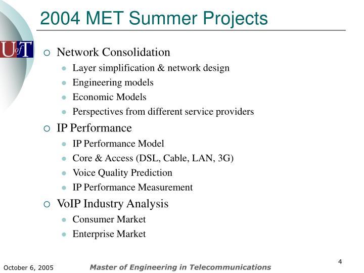 2004 MET Summer Projects