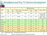 broadband and pay tv service development