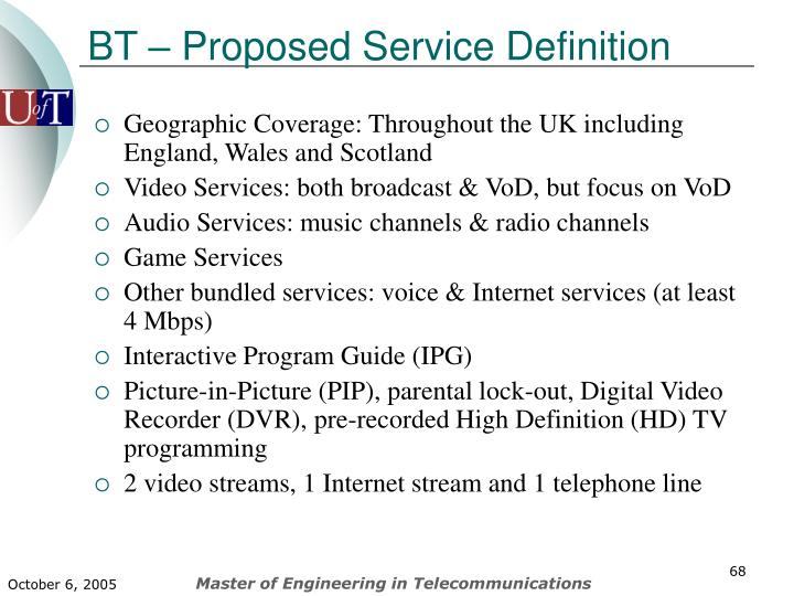 BT – Proposed Service Definition