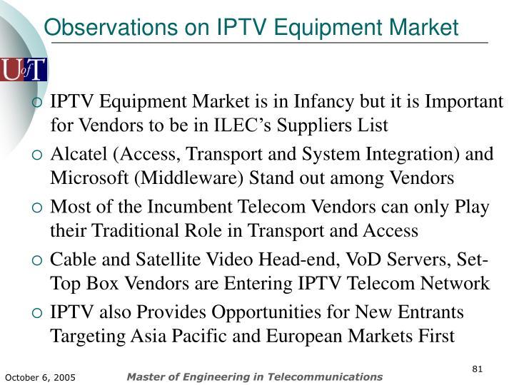Observations on IPTV Equipment Market