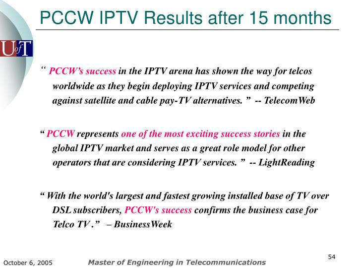 PCCW IPTV Results after 15 months