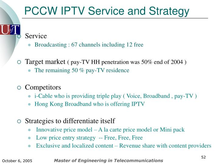 PCCW IPTV Service and Strategy
