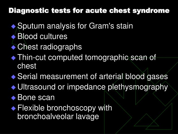 Diagnostic tests for acute chest syndrome