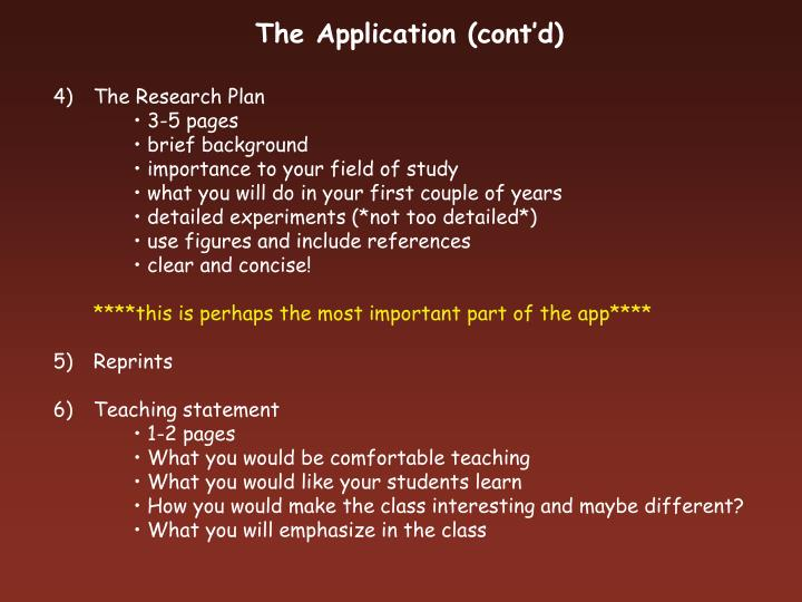 The Application (cont'd)
