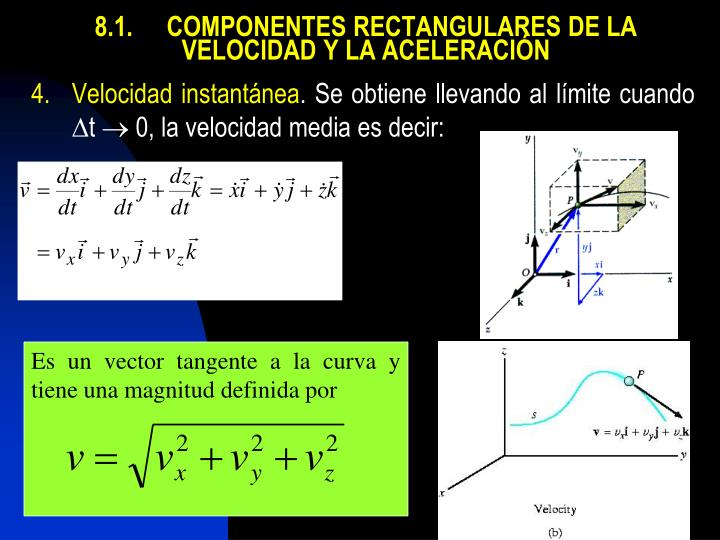 8.1.COMPONENTES RECTANGULARES DE LA VELOCIDAD Y LA ACELERACIÓN