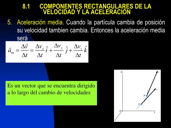 8.1COMPONENTES RECTANGULARES DE LA VELOCIDAD Y LA ACELERACIÓN
