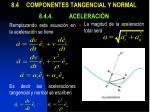 8 4 componentes tangencial y normal 8 4 4 aceleraci n4