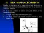 iii relatividad del movimiento