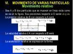 vi movimiento de varias particulas movimiento relativo