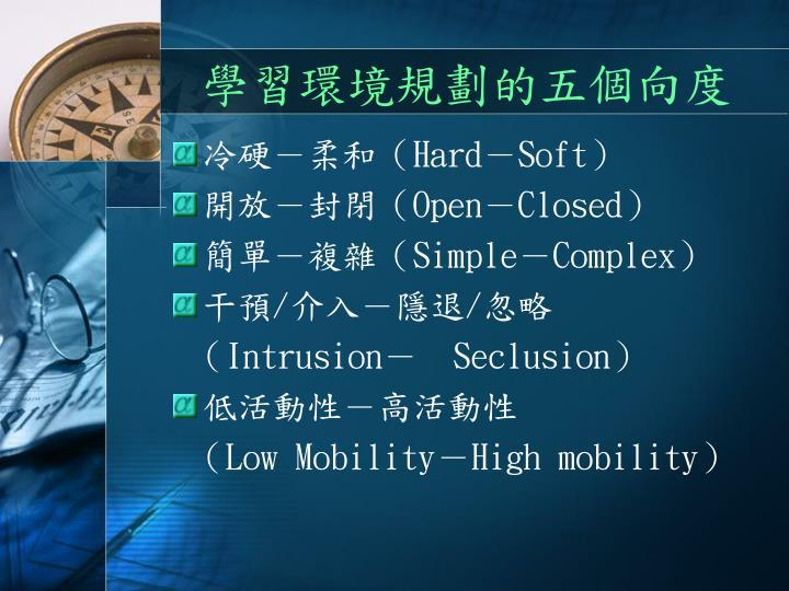 學習環境規劃的五個向度