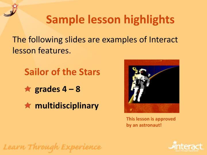 Sample lesson highlights