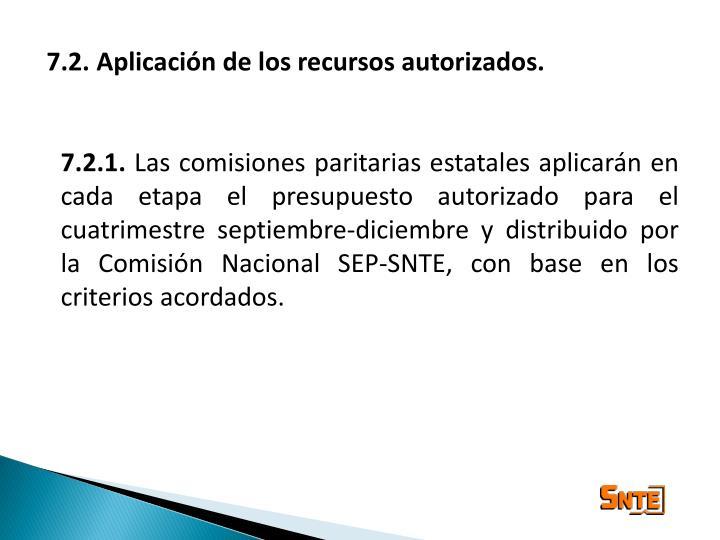 7.2. Aplicación de los recursos autorizados.