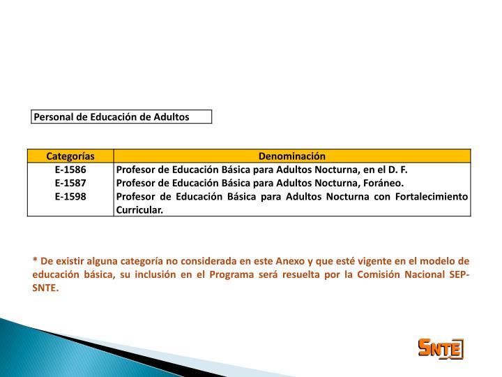 * De existir alguna categoría no considerada en este Anexo y que esté vigente en el modelo de educación básica, su inclusión en el Programa será resuelta por la Comisión Nacional SEP-SNTE.