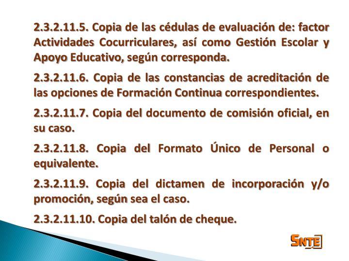 2.3.2.11.5. Copia de las cédulas de evaluación de: factor Actividades Cocurriculares, así como Gestión Escolar y Apoyo Educativo, según corresponda.