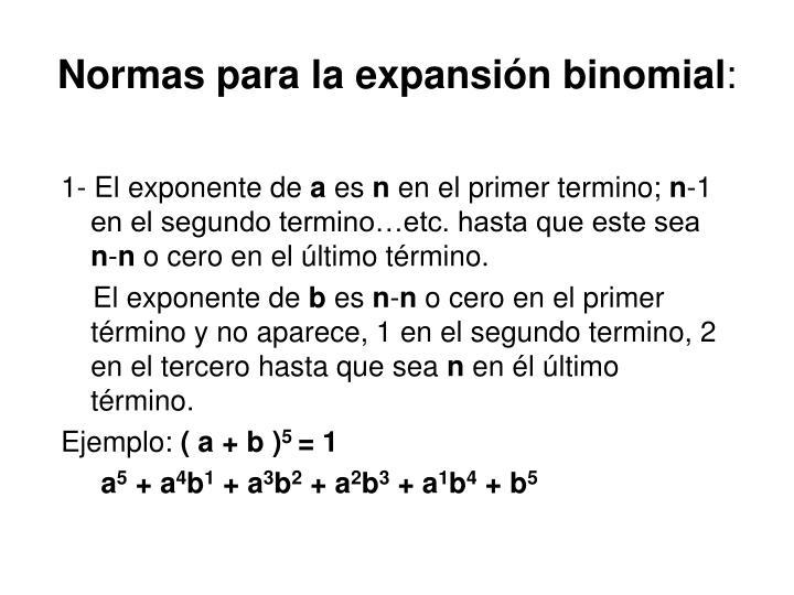 Normas para la expansión binomial