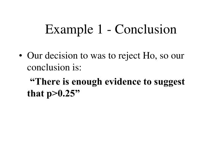 Example 1 - Conclusion