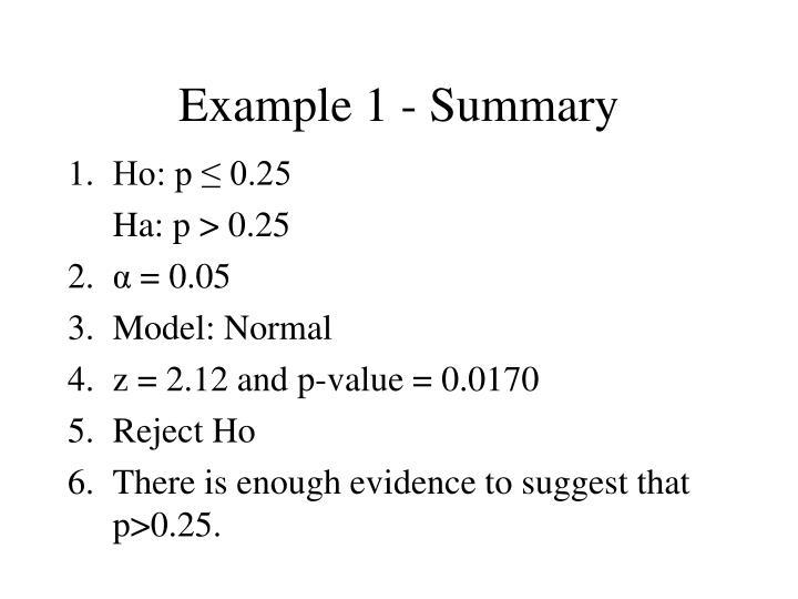 Example 1 - Summary