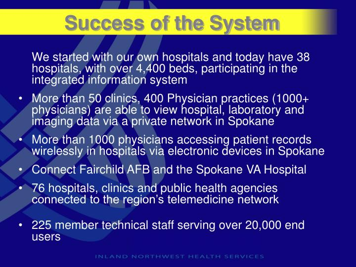 Success of the System