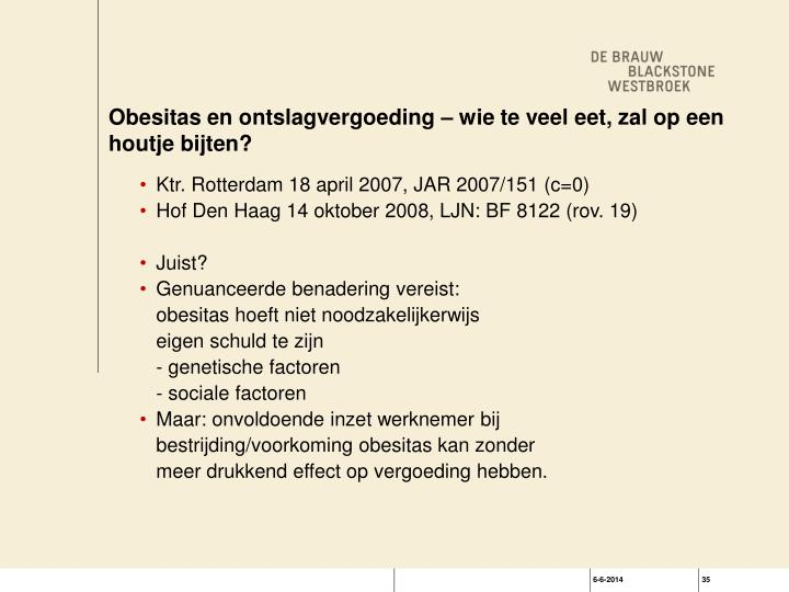 Obesitas en ontslagvergoeding – wie te veel eet, zal op een houtje bijten?