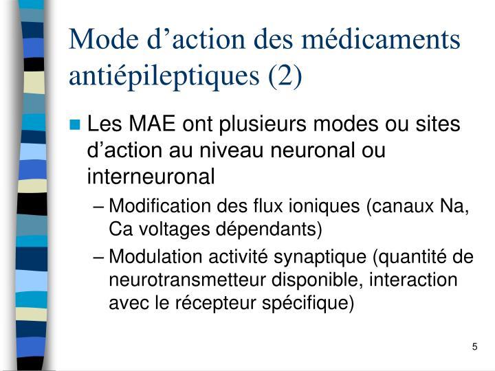 Mode d'action des médicaments  antiépileptiques (2)