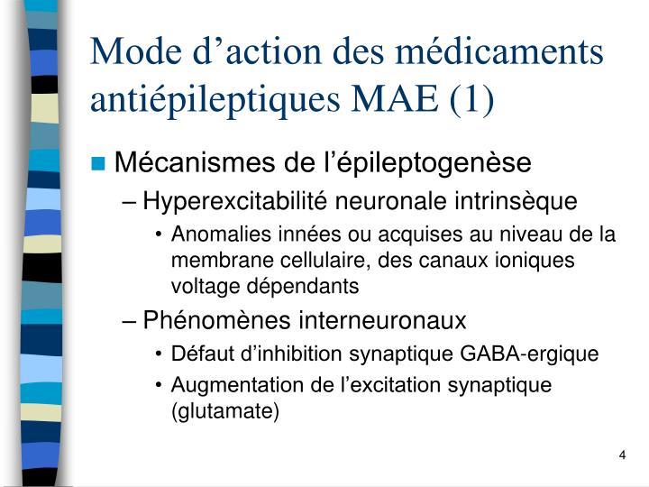 Mode d'action des médicaments antiépileptiques MAE (1)