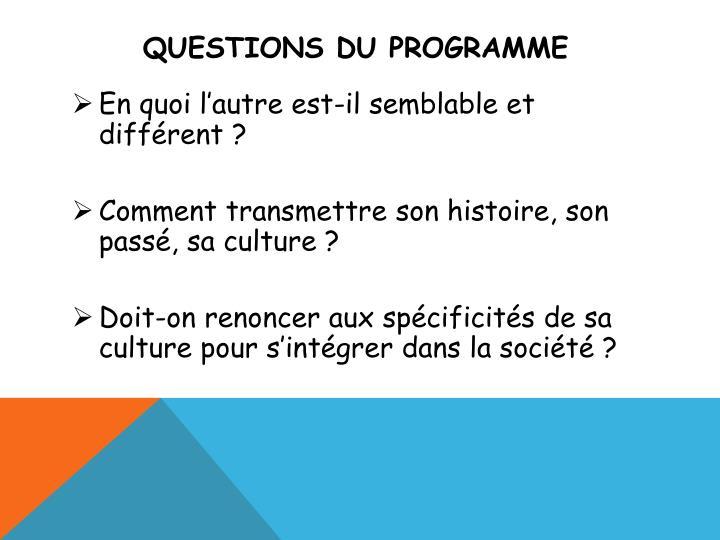 Questions du programme