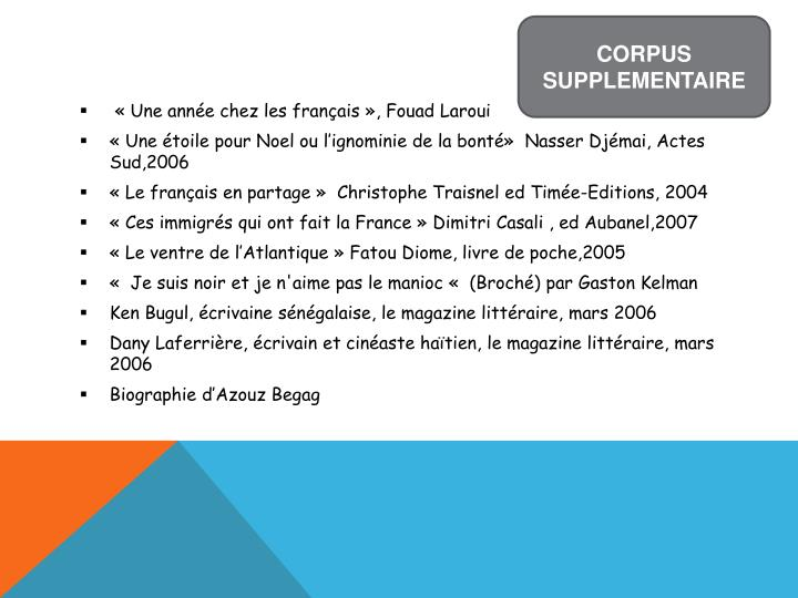 CORPUS SUPPLEMENTAIRE