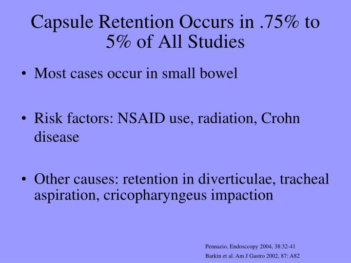 Capsule Retention Occurs in .75% to 5% of All Studies