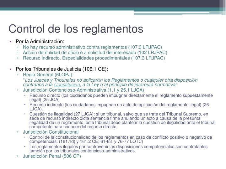 Control de los reglamentos