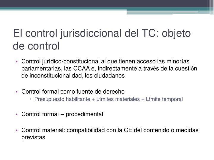 El control jurisdiccional del TC: objeto de control