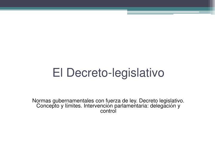 El Decreto-legislativo