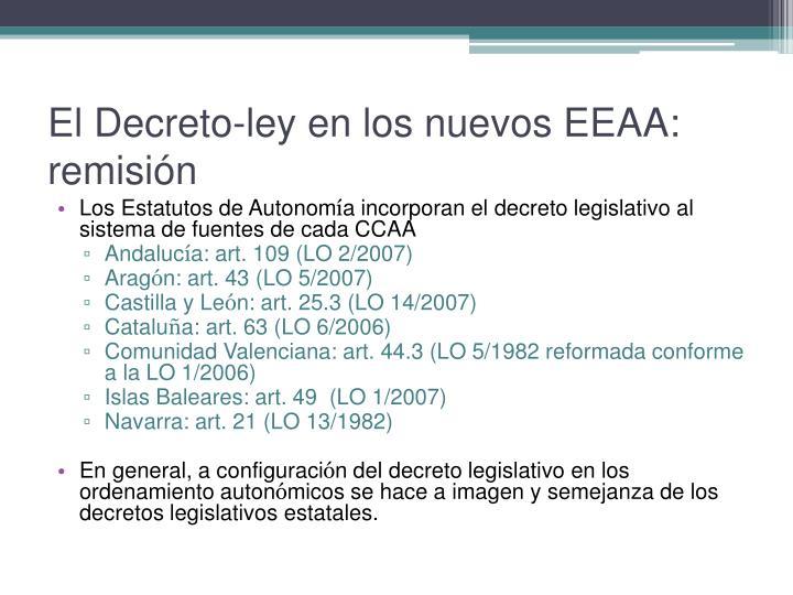 El Decreto-ley en los nuevos EEAA: remisión