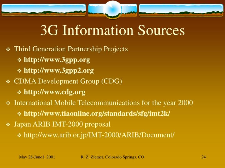 3G Information Sources