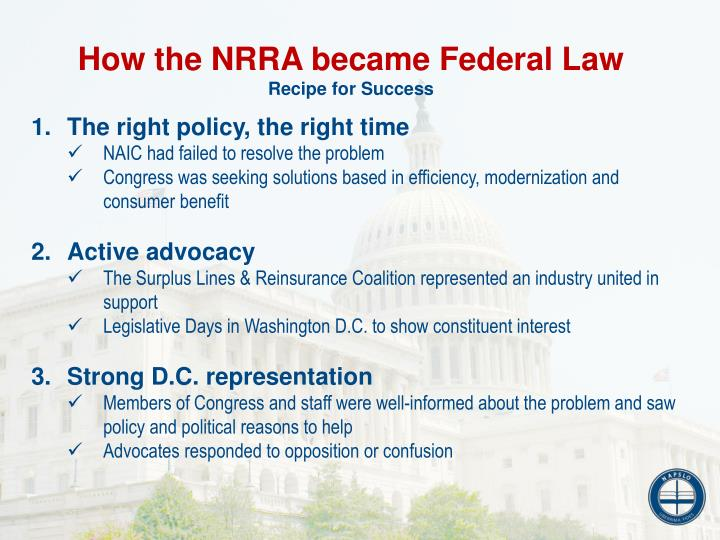 How the NRRA became Federal Law