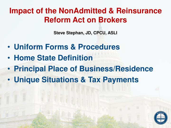 Impact of the NonAdmitted & Reinsurance Reform Act on Brokers