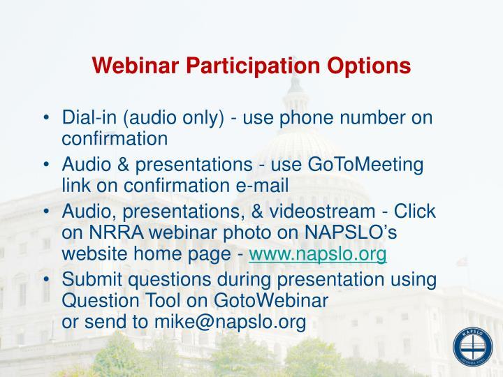 Webinar Participation Options